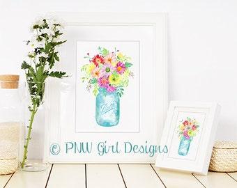B-424 Farmhouse Ball Mason Jar Bouquet / Perfect Mason / Flowers / Watercolor / Country / Rustic / Decor / Art Print / Chic