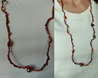 Crochet Beaded Necklace Red