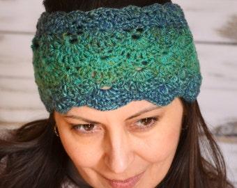 Lace adult headband Women's hairband, Green headband, Lace Head Piece, Women's Gift crochet lace hair accessories boho crochet lace hairband