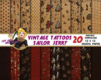 Tattoo digital paper, Sailor Jerry, Tattoo scrapbook, pinup, pinups, wrapping paper, nautical paper, anchor, roses, vintage paper, retro