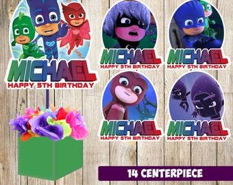 14 PJ Mask centerpieces, PJ Mask printable centerpieces, PJ Mask party supplies, pj mask birthday