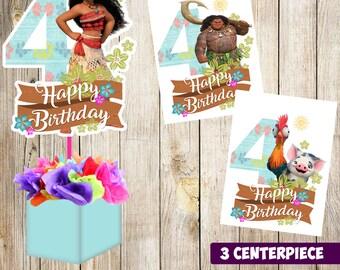3 Moana centerpieces, Moana printable centerpieces, Moana 4th, Moana party supplies, Moana birthday, Favors, decorations, Moana printable
