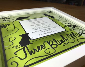 Three Blind Mice, Paper Cut Out Nursery Rhyme, Framed