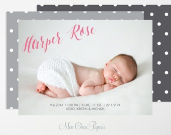Baby Girl Birth Announcement -Sweet Baby Digital or Print