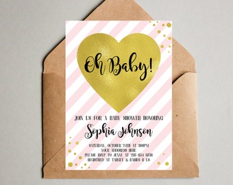 Baby Shower Invitation Girl - Pink and gold baby shower invites - Pink Baby Girl Invites - Baby Invitations - Pink Invite - Pink Stripes