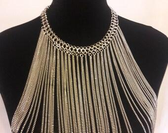 Body Chain Harness Collar Silver Tone