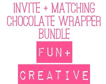 Invite and 40g Chocolate Wrapper bundle