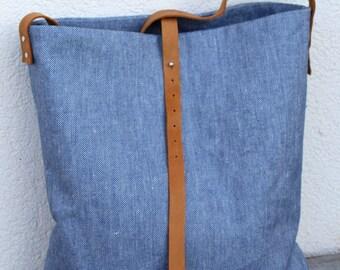 Hobo Bag Linen, Shoulder Bag, Linen Bag, Large Tote Bag, Bucket Bag, Laptop Bag, Leather Bag, Diaper Bag, Blue Tote Bag, Ready To Ship