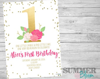 Gold and Pink Watercolor Floral First Birthday Invitation