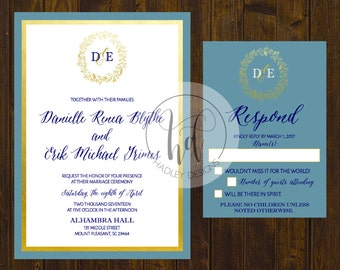 Classic Wedding Invitation, Elegant Wedding Invites, Blue and Gold Wedding Invitation,  Floral Wedding Invite, Modern Wedding Invitation