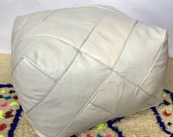 LARGE Moroccan Contemporary, Luxurious design,  100% Leather, Hand Stitched Square  Pouffe Grey/UNSTUFFED