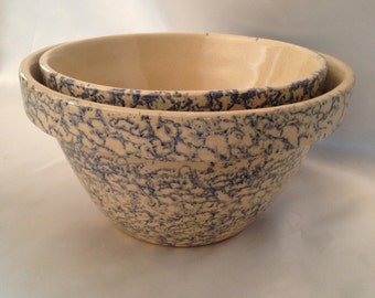 "Robinson Ransbottom cobalt blue spongeware mixing bowls set 8"" and 9.5""/RPR Blue Spongeware/Ransbottom blue spongeware bowl/Spongewere"