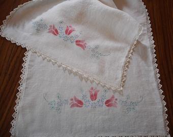 Vintage Pink Floral Table Runner - stenciled linen