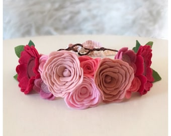 RED + PINK CROWN // Felt Flower Crown // Woodland Crown // Fairy Crown // Anemones + Roses // Valentines Day // Photo Shoot Prop