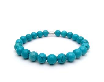 December Birthstone Bracelet. Turquoise bracelet, men elastic bracelet. Turquoise, bangle, December.