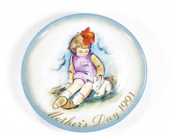 Vintage 1991 Mother's Day Plate, 1991, Hummel Plate, Made in West Germany, Mother's Day Gift, Schmid, Inspired by Berta Hummel