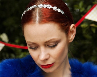 Silver Alice Band Flower Headband Silver Hair Piece Wedding Hairband Flower Hair Band Gold Hair Jewellery Bridesmaid Bridal Headpiece