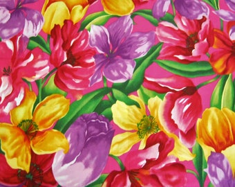 Alexander Henry Fabric In Spring*Floral Fabric 100% Cotton*1998*Bright Flower Fabric*Tulips*Pink*Purple*Mango*Quilting Cotton*Sewing