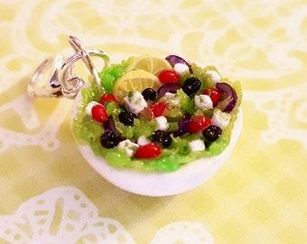 Salad Charm - Polymer Clay Salad in a Bowl Charm - Miniature Food Jewelry Salad - Greek Salad Charm - Healthy Food Charm