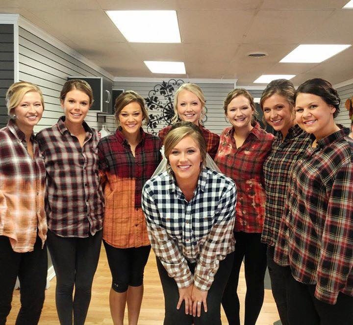 Image result for bridesmaids in flannel shirts