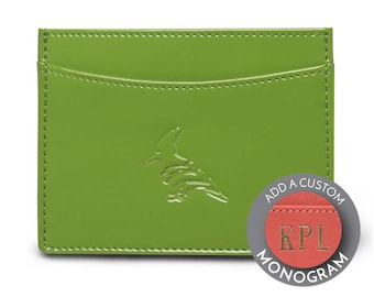 Green business card etsy patent leather leaf green card holder personalize custom monogram wallet business card reheart Images