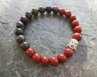 The resolution bracelet! Stretch bracelet in natural red jasper and dragon blood stone 8 mm with buddha head Reiki infused