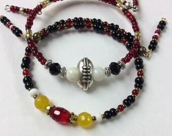 Football Sports Bracelet, Stackable Bracelet, Football Charm Bracelets, Sports fan Jewelry, Womens Sport Jewelry, Red Black Gold Wrapbracele