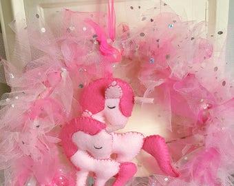 Pink hanging tuile unicorn mobile