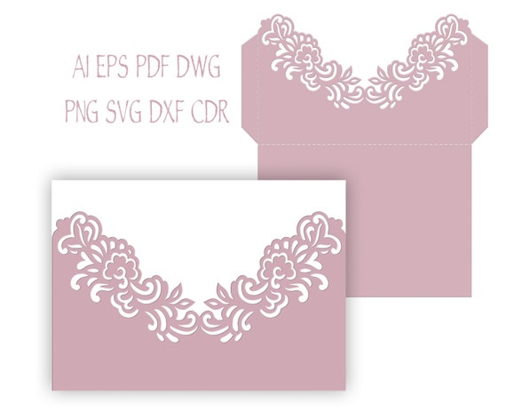 5x7'' Floral Wedding Invitation Pocket Envelope SVG