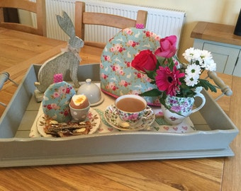 Breakfast set with tea cosy and egg cosy in bunny and flower fabric, tea cozy and egg cozy