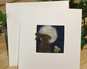Hare needle felt greetings card. Needle felted picture on a linen panel in a blank card for your own message