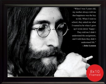 "John Lennon Photo, Picture, Poster or Framed Quote ""When I was five"" - High Quality Prints, Inspirational Famous Quotes, Beatles Poster"
