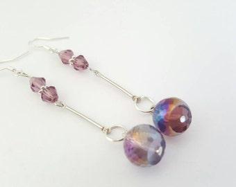 Purple drop earrings - purple dangle earrings - Long drop earrings - Purple earrings - Gift for wife - Gift for her - Gift for girlfriend