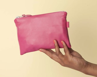 Hot Pink Leather Purse // Leather Makeup Bag // Leather Bag // Leather Travel Pouch // Small Leather Clutch // Small Leather Pouch