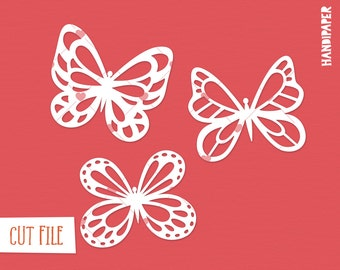 Butterflies digital cut file (svg, dxf, png) for use with Silhouette, Cricut, paper crafting, scrapbooking projects, card making, stencils.