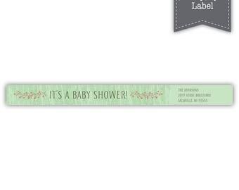 Woodland Friends SkinnyStyle Wrap Around Return Address Label Template - Printable --- Green --- #B330-SL1-D