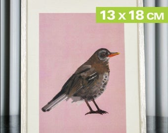 Mini-Print, Birds of the Garden, blackbird, 12,6x17,9cm, 300 g paper