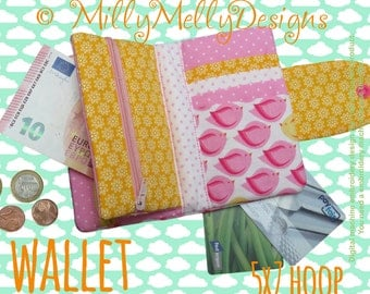 5x7 hoop - wallet - many pockets - machine embroidery design file - millymellydesigns