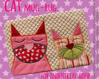 CATS mug rug - for INDUSTRIAL hoop - In The Hoop - Machine Embroidery Design File, digital download