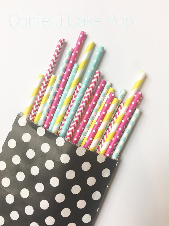 Confetti Cake Pop straw mix//paper straws, straws, party decorations, party supplies, birthday party, baby shower, wedding, bridesmaid, deco
