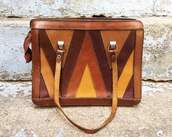 Vintage 70s Brown + Mustard Zig Zag Chevron Faux Leather Rectangle Hippie Handbag Purse Shoulder Bag