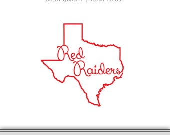 Texas Tech Graphic - Red Raiders - Red Raiders DXF - Texas Tech SVG - 7 Files Total - Digital Download - Ready to Use!