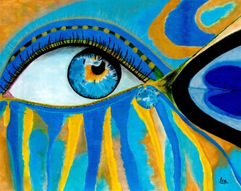 """Canvas print of Acrylic Painting """"Blue eyes"""""""