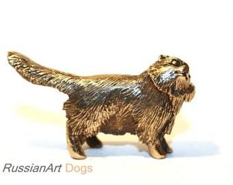 manul cat, miniature statuette of bronze, metal figurine