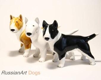 English Bull Terrier (BullTerrier) dog ceramic figurine handmade statuette