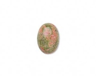 Unakite Cabochon, Green, Terracotta, Natural Gemstone, 14x10mm Oval Cab, 2 Each, D978
