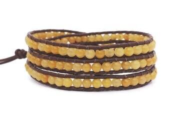 Wrap Bracelet, Beaded Wrap Bracelet, Triple Wrap Beaded  Bracelet,  BOHO fashion, Yellow Jade Beaded Bracelet