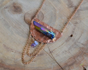 Titanium Aura Copper Dreamer Necklace // Brass Chain // Amethyst // Crystal Energy Necklace // Healing // Go with the Flow // Relax
