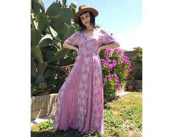 Vintage multi print maxi dress - small