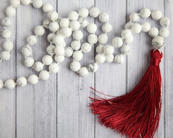 Long white and red necklace / Frosted Howlite bead necklace / Long white necklace / Hand knotted Howlite and red tassel necklace